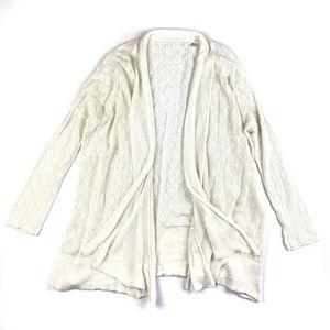 Anthropologie Diamond Knit White Open Cardigan